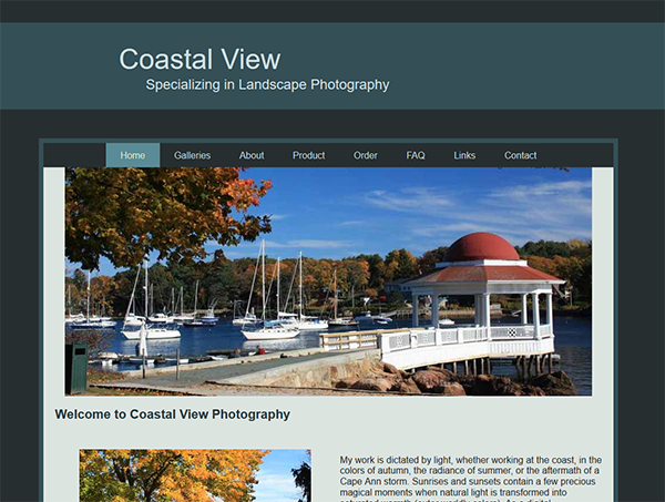 Coastal View Photography website image